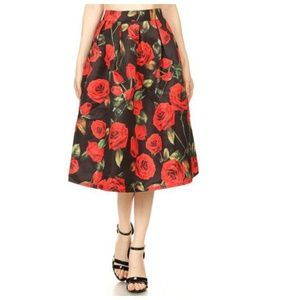Floral Red Mid Skirt